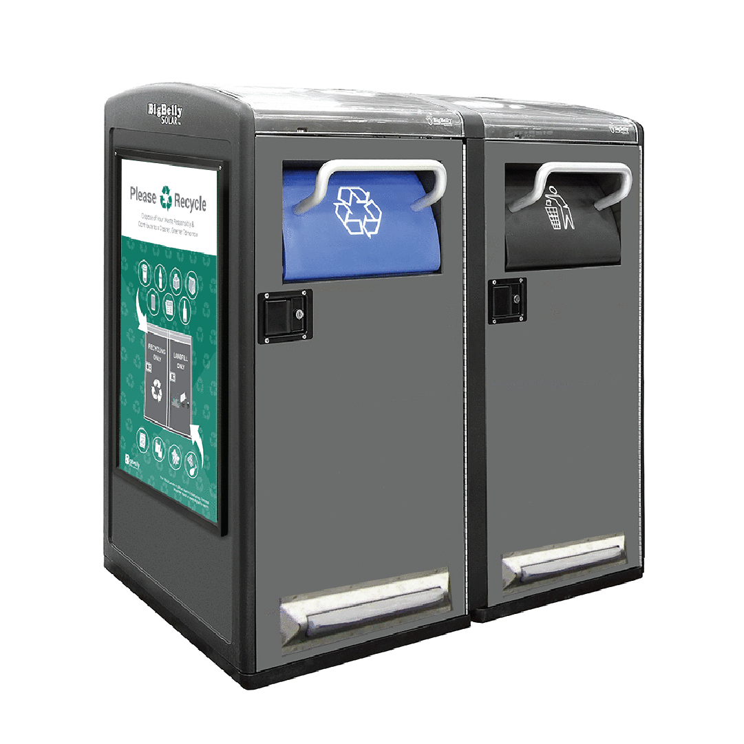 High Capacity and Standard Capacity Double Station with Trash Hopper and Single Stream Recycling Hopper