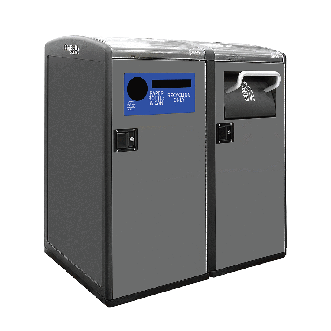 High Capacity and Standard Capacity Double Station with Trash Hopper and Single Stream Recycling Faceplate