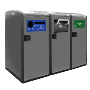 Standard Capacity and High Capacity Triple Station with Trash Hopper, Compost Flap, and Single Stream Recycling Faceplate
