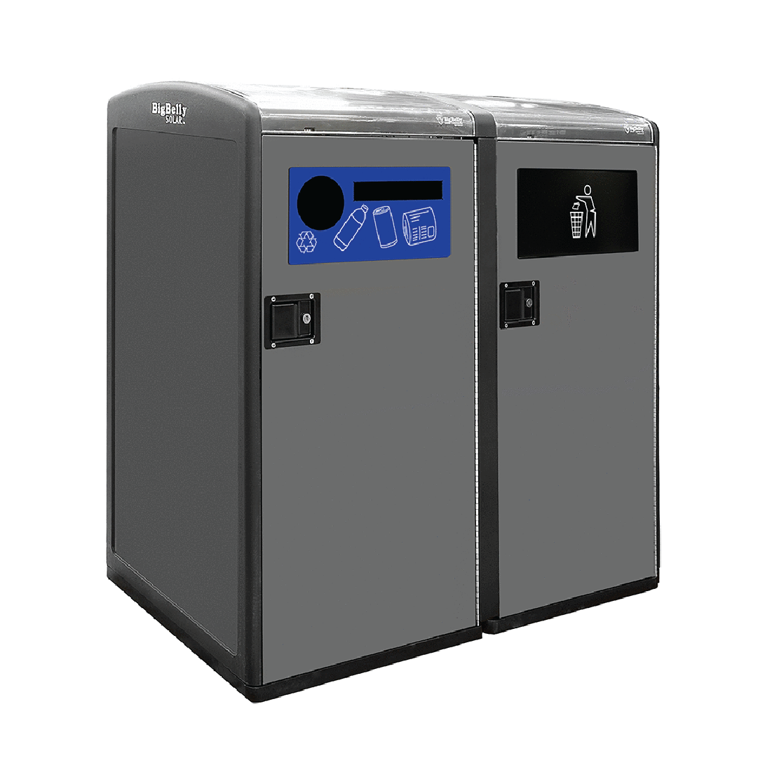 Standard Capacity Double Station with Trash Flap and Single Stream Recycling Faceplate