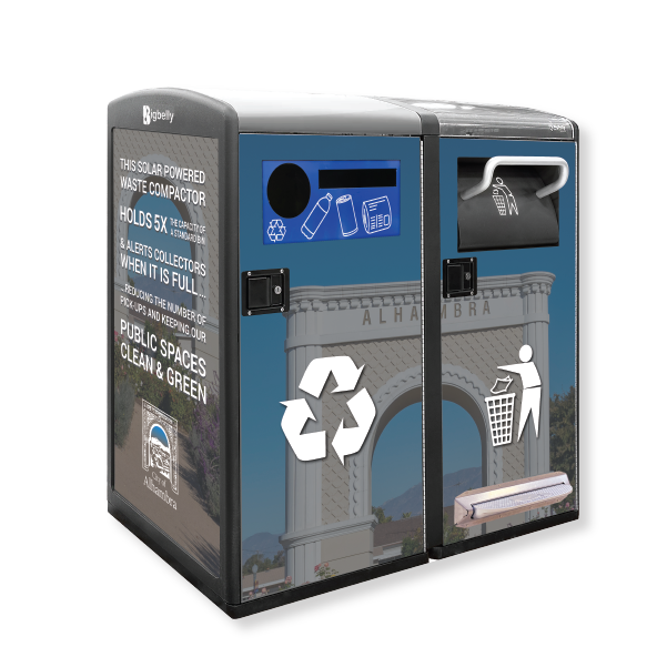 Bigbelly Smart Waste & Recycling High Capacity Standard Capacity Double Station Alhambra CA