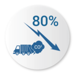 Bigbelly Smart Waste & Recycling Benefits Icon 80% Reduced Collections